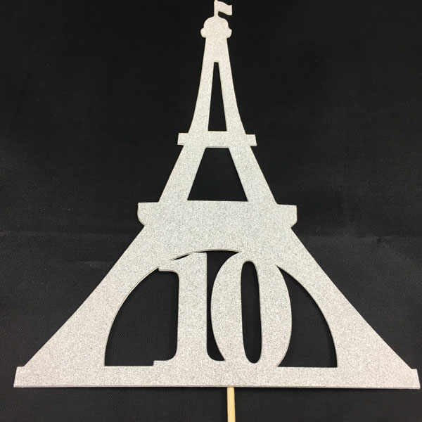 Customized Eiffel Tower Birthday Cake Topper