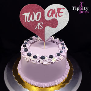Two as One Cake Topper for Anniversary and LGBTQ