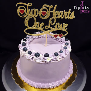 Two hearts One Love Wedding Cake Topper