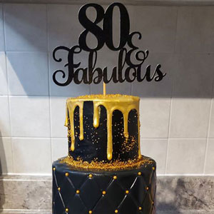 80 & Fabulous for 80th Birthday Cake Topper in Black, Gold or Silver Glitter - Custom Made in Montreal