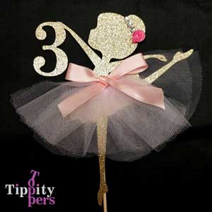 Ballerina with toutou, rhinestone tiara and flower Cake Topper
