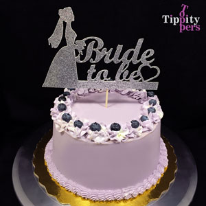 Bride to Be with Cutout Silver Heart Cake Topper for Bridal Shower