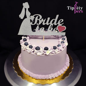 Bride to Be with Red Heart Cake Topper for Bridal Shower