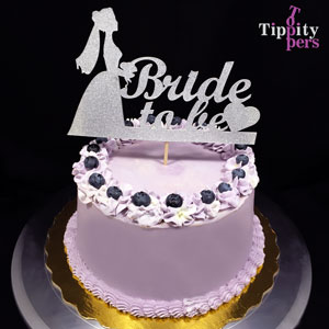 Bride to Be with Silver Heart Cake Topper for Bridal Shower